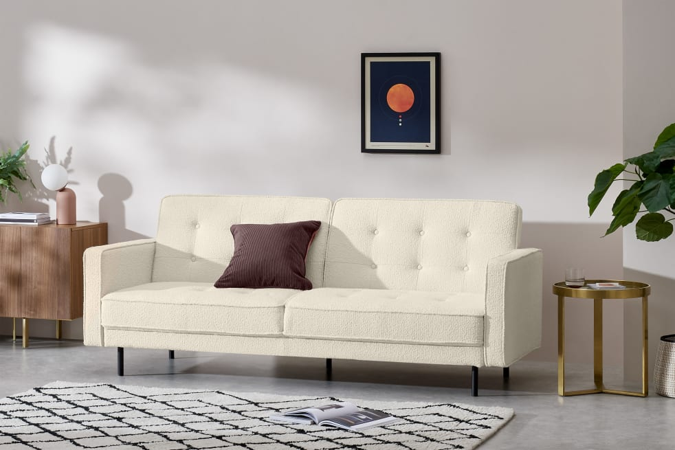 HomeSofas & Armchairs3 Seater SofasRosslyn Click Clack Sofa Bed, Whitewash Boucle   MADE.COM (UK)